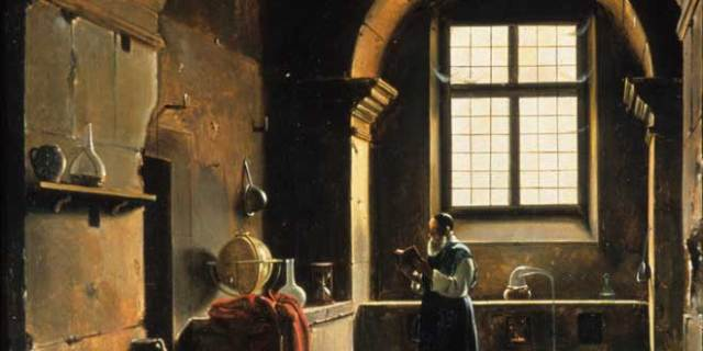Detail from The Alchemist. Francois-Marius Granet, 19th century. (Gift of Roy Eddleman, CHF Collections/Will Brown)