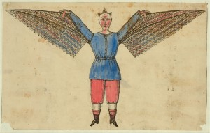 Lithograph of man who flies with wings attached to his tunic. From the Library of Congress Tissandier Collection.