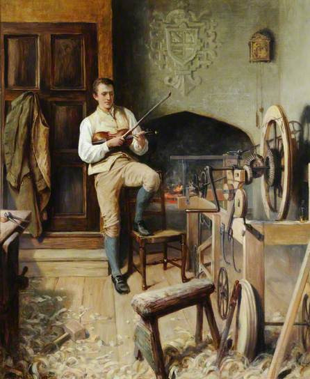 Samuel Crompton Inventing the Spinning Mule by Alfred Walter Bayes, 1895 (c) Bolton Library & Museum Services, Bolton Council; Supplied by The Public Catalogue Foundation