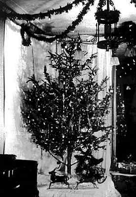 Photo taken on 25 Dec 1882 showing Edward H. Johnson's Christmas tree with strings of electric lamps.