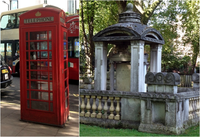 London telephone box and Eliza Soane's tomb (all photos by the author for Hyperallergic unless otherwise noted)