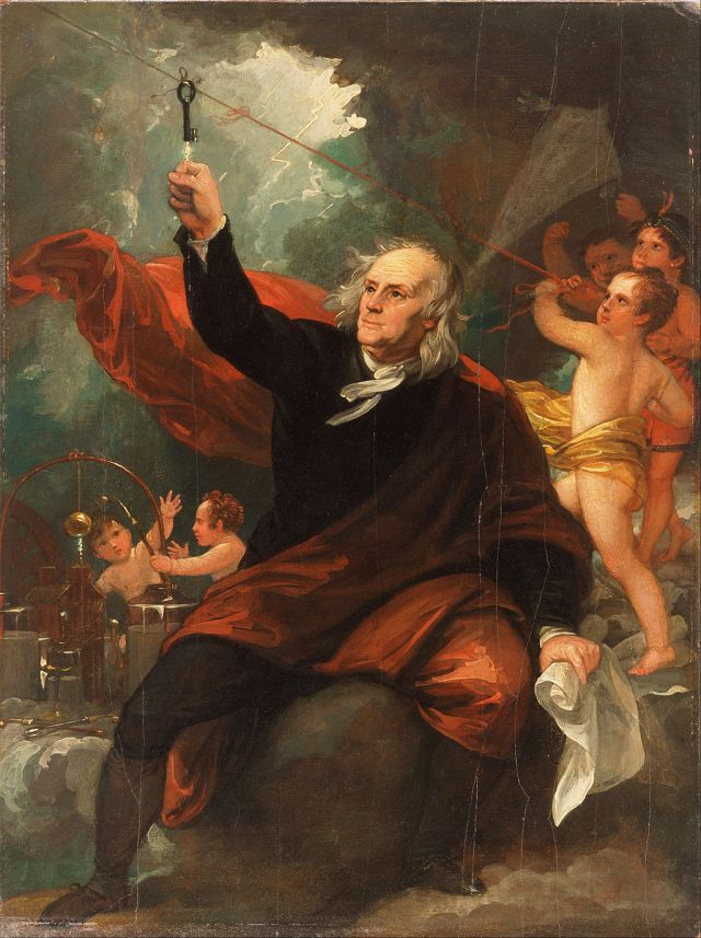Benjamin Franklin Drawing Electricity from the Sky c. 1816 at the Philadelphia Museum of Art, by Benjamin West