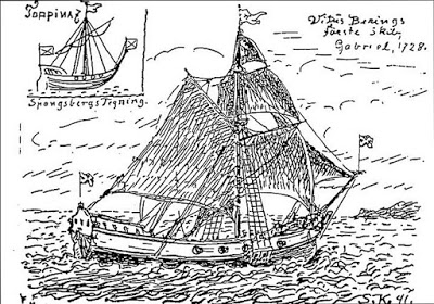 The Gabriel as drawn by Martin Spangsberg in 1827. Picture: Danish Geografisk Tidsskrift