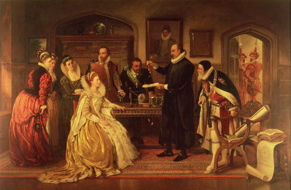 Dr William Gilbert (1544-1603) showing his Experiment on Electricity to Queen Elizabeth I and her Court, 19th century (oil on canvas)
