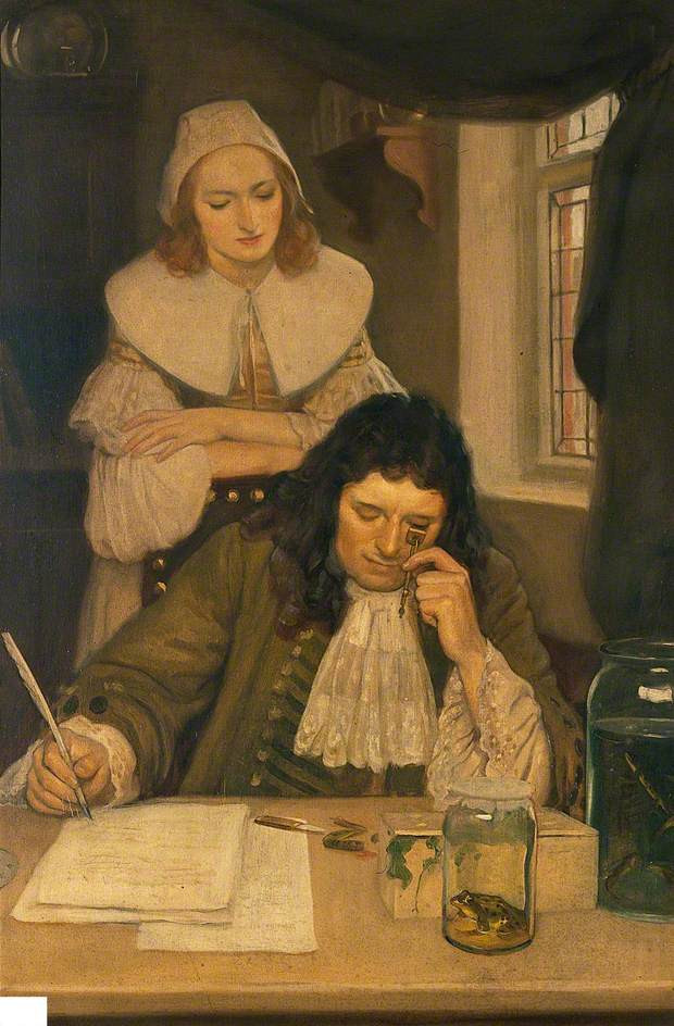 Leeuwenhoek with His Microscope by Ernest Board (c) Wellcome Library; Supplied by The Public Catalogue Foundation