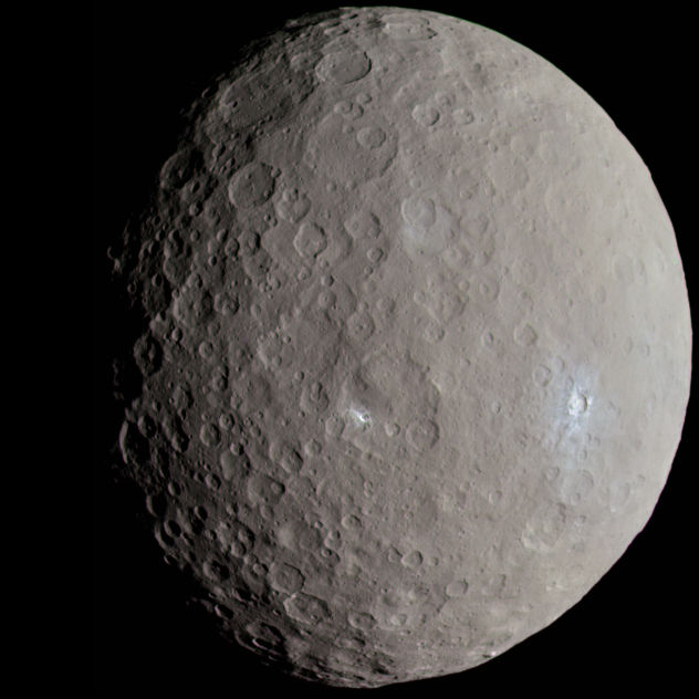 A view of Ceres in natural colour, pictured by the Dawn spacecraft in May 2015.
