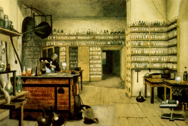 Michael Faraday at work in his laboratory in the basement of the Royal Institution in London. Painting by Harriet Moore Source: Wikimedia Commons
