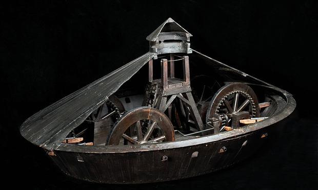 An armoured vehicle by Leonardo da Vinci. Photograph: Alessandro Nassiri/Science Museum
