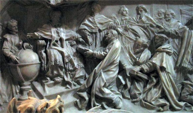 A detail on Pope Gregory XIII's tomb, carved by Camillo Rusconi, shows the Pope being presented with a plan for what would become the Gregorian Calendar. (Image: WikiCommons )