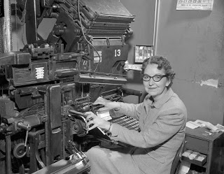 Mildred Parsons Burns became the first woman linotype operator at the Herald-Leader Company in April 1949.