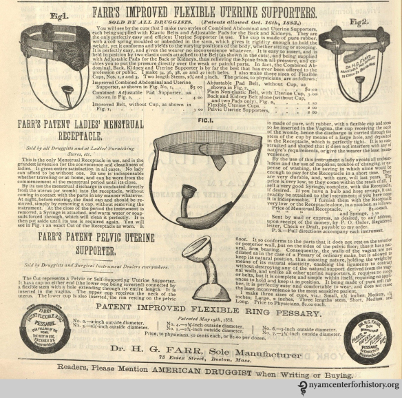 """Farr's Patent Ladies' Menstrual Receptacle,"" advertised in American Druggist, January 1884."