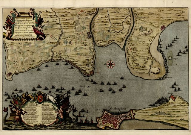 "Anna Beeck. ""Plaan van de Dissante of Landing in Spangien voor Cadix…"" 1702. Library of Congress, Geography & Map Division."