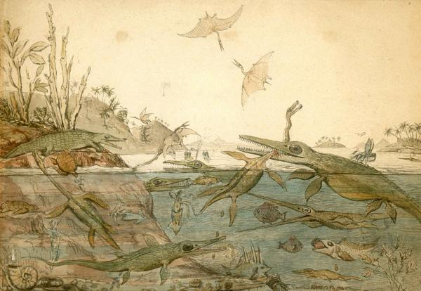 Duria Antiquior – A More Ancient Dorset, 1830 Watercolor by Henry De la Beche Courtesy National Museum of Wales