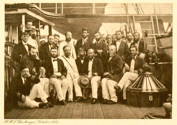 The science and ship crew of the HMS Challenger in 1874.