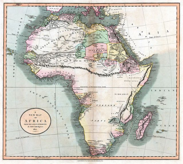 A map from 1805 show the fictional Mountains of the Moon bisecting the African continent. (Photo: Wikipedia)