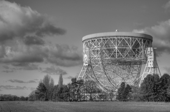The British radio telescope at Jodrell Bank in Cheshire