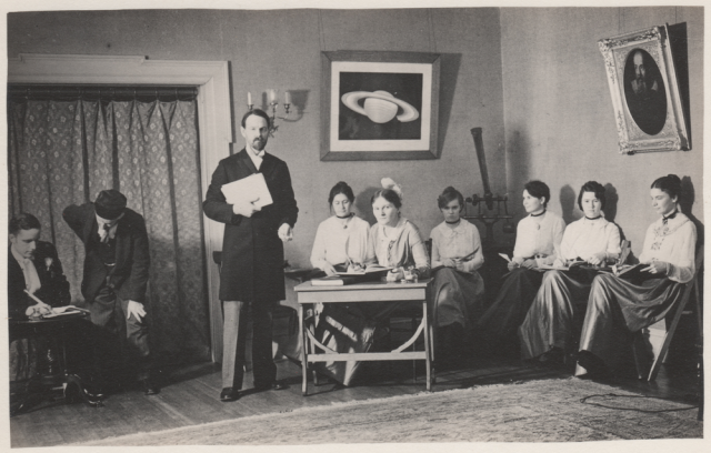 Actors: Peter Millman, Leon Campbell, [Ransom or Wheelwright], Henrietta Swope, Cecilia Payne, Mildred Shapley, Helen Sawyer, Sylvia Mussels, Adelaide Ames. Characters: William A. Rogers, Arthur Searle, [Pickering or Upton], computer, Josephina, computer, computer, computer, Rhoda Saunders