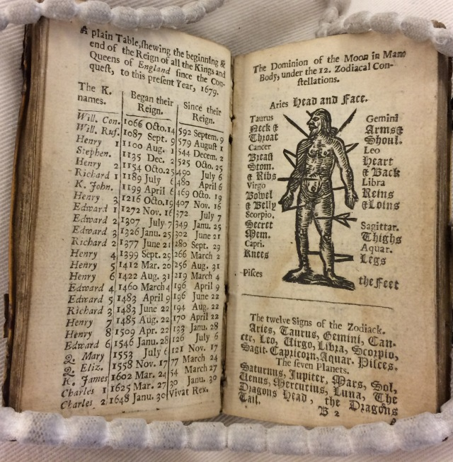 Zodiac man in EPB/61971/A: Goldsmith, 1679. An almanack for the year of our Lord God, 1679 (London: Printed by Mary Clark, for the Company of Stationers, 1679), leaf B2 recto. Image credit: Elma Brenner.
