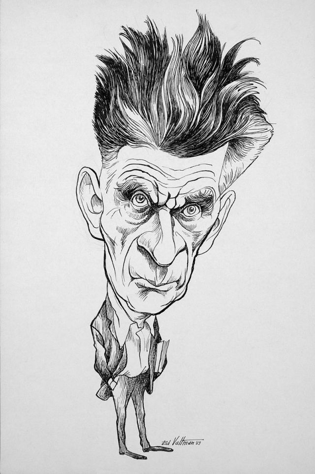 Caricature of Beckett by Edmund S. Veltman Source: Wikimedia Commons