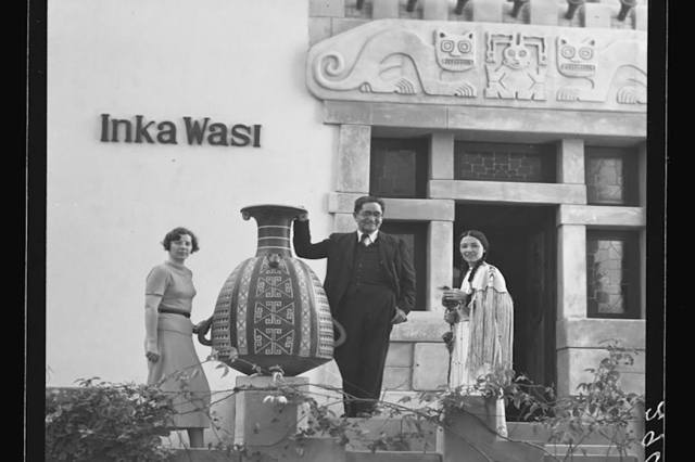 Dorothy A. Bennett, Dr. Julio C. Tello, and Te Ata Fisher at Inka Wasi, Dr. Tello's home, Lima, Peru, 1937 George Clyde Fisher, AMNH Digital Special Collections