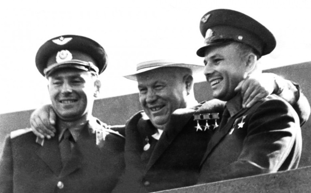 Gherman Titov, Nikita Khrushchev and Yuri Gagarin on the Red Square in Moscow 1961 Source: Wikimedia Commons