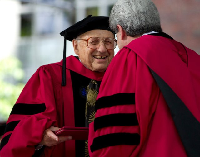 "Walter Kohn receiving an honor from Harvard in 2012. ""Physics isn't what I do,"" Dr. Kohn once said. ""It is what I am."" Credit Steven Senne/Associated Press"