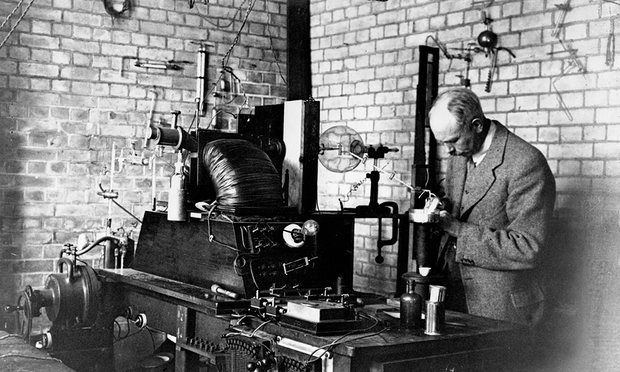 Francis Aston in his laboratory at Cambridge University. In 1922 he was awarded the Nobel prize for chemistry for his discovery of isotopes Photograph: Science & Society Picture Library/Getty Images