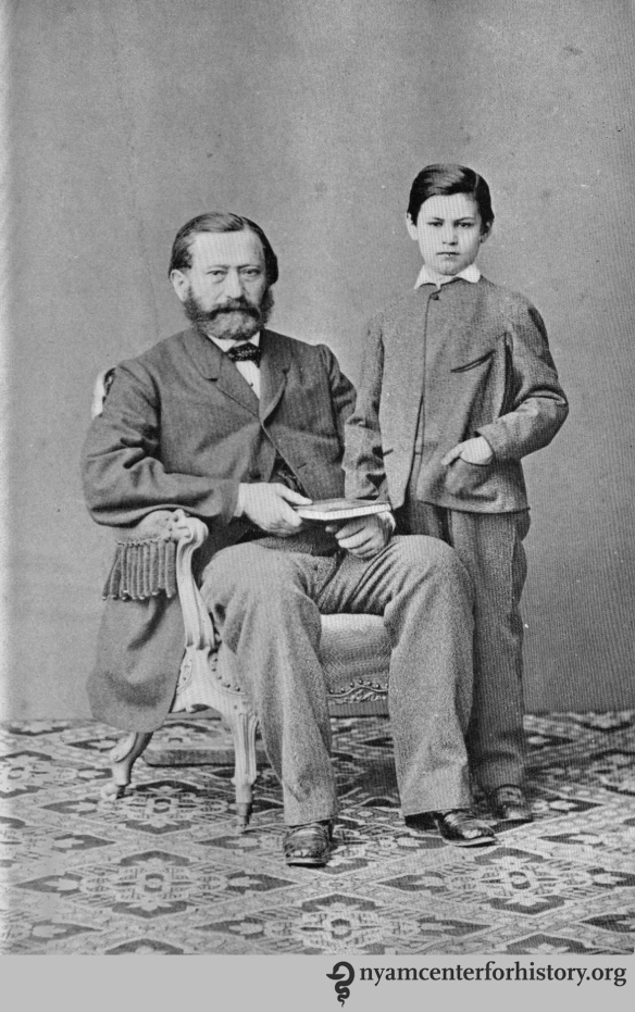 Freud with his father Jakob in 1864. In The Freud centenary exhibit of the American Psychoanalytic Association, 1956.