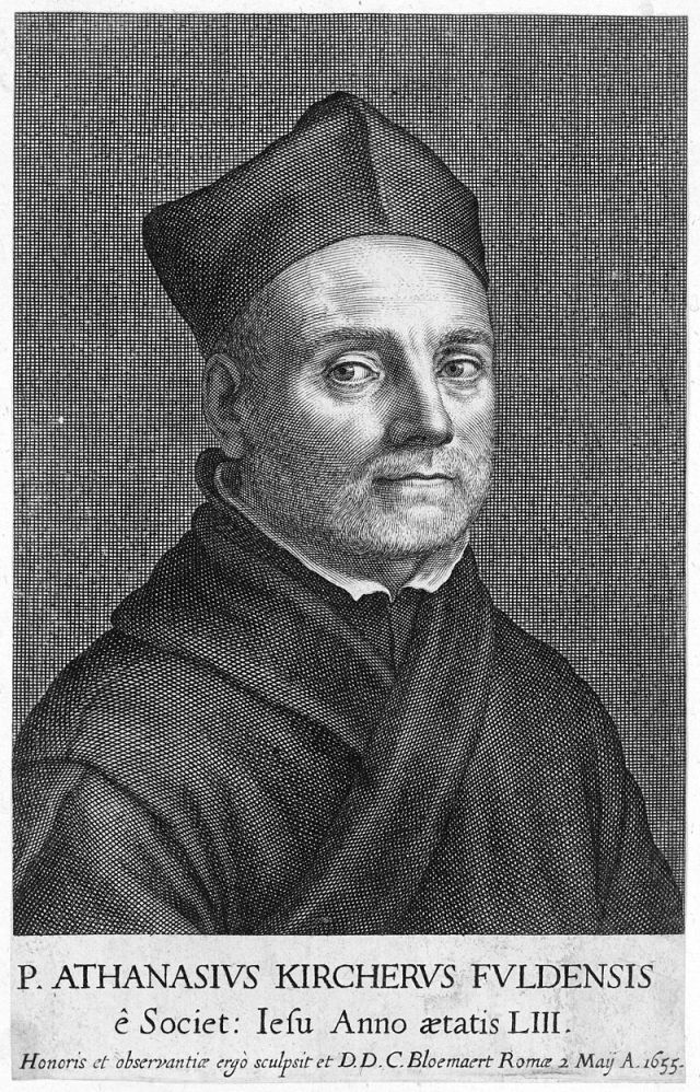 Portrait of Kircher at age 53 from Mundus Subterraneus (1664) Source: Wikimedia Commons