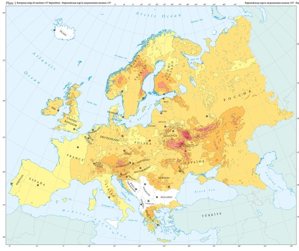 "Plate 1 from ""The Atlas of Caesium-137 Contamination of Europe after the Chernobyl Accident."""