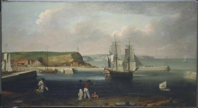 Earl of Pembroke, later HMS Endeavour, leaving Whitby Harbour in 1768. By Thomas Luny, dated 1790. Source: Wikimedia Commons