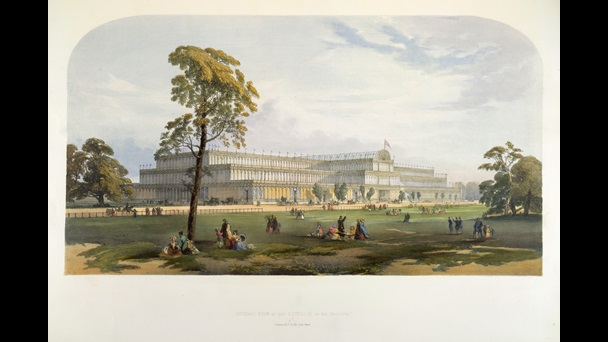 'General View of the Exterior of the Building' of the Great Exhibition.  Dickinson's Comprehensive Pictures of the Great Exhibition of 1851