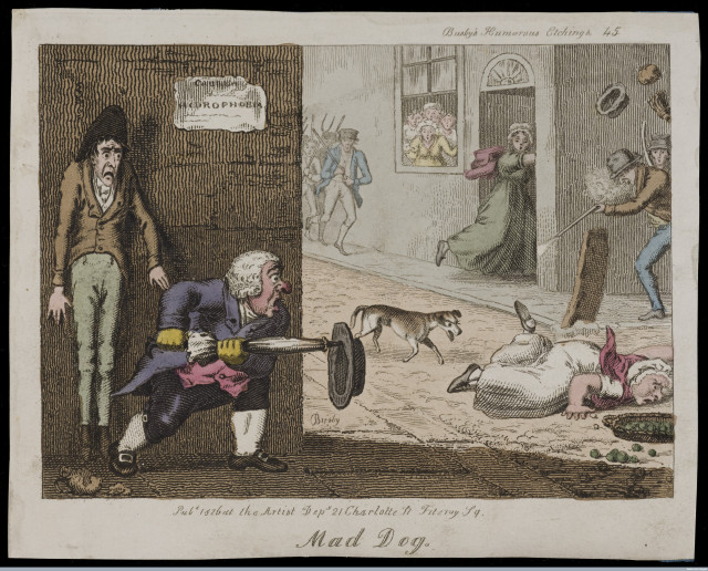 A mad dog on the run in a London street: citizens attack it as it approaches a woman who has fallen over. Coloured etching by T.L. Busby, 1826 1826 By: Thomas Lord. BusbyPublished: 1826. Credit: Wellcome Library, London. Wellcome Images