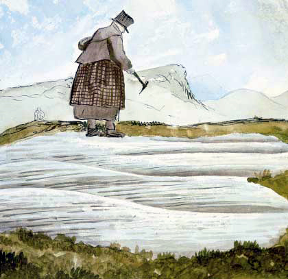 Sketch of Mary Anning at work by Henry De la Beche Source: Wikimedia Commons