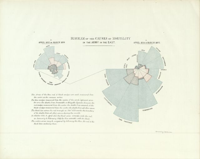 Chart from NYAM's copy of Florence Nightingale's A contribution to the sanitary history of the British army during the late war with Russia (London, 1859).