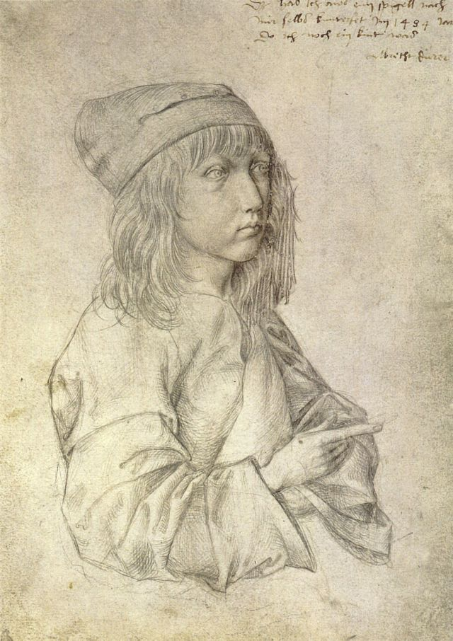 Self-portrait silverpoint drawing by the thirteen-year-old Dürer, 1484 Source: Wikimedia Commons