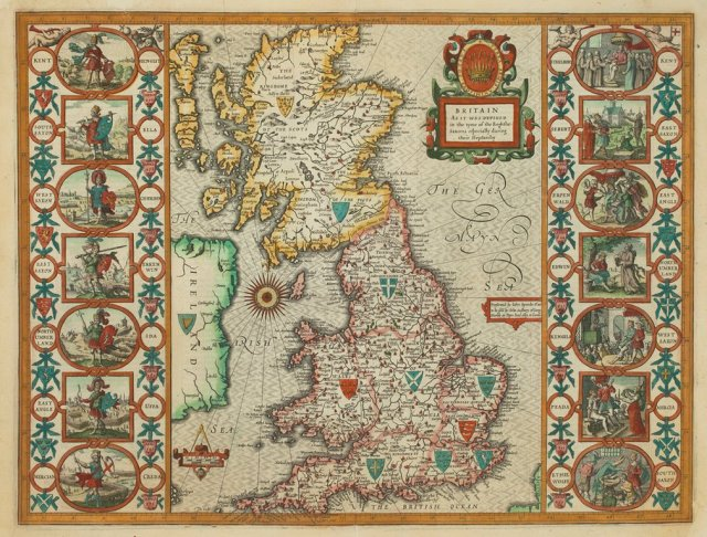 Britain As It Was Devided in the tyme of the Englishe Saxons especially during their Heptarchy by John Speed