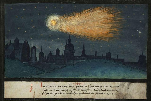Augsburger Wunderzeichenbuch, Folio 52 (Comet mit einem grosen Schwantz, 1401)