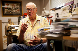 "UW professor Robert T. Paine, 80, in his Kincaid Hall office, ""has trained a thriving dynasty"" of students. ERIKA SCHULTZ / THE SEATTLE TIMES"