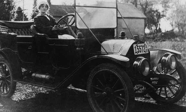 A woman at the wheel, circa 1913. Photograph: REX/Shutterstock