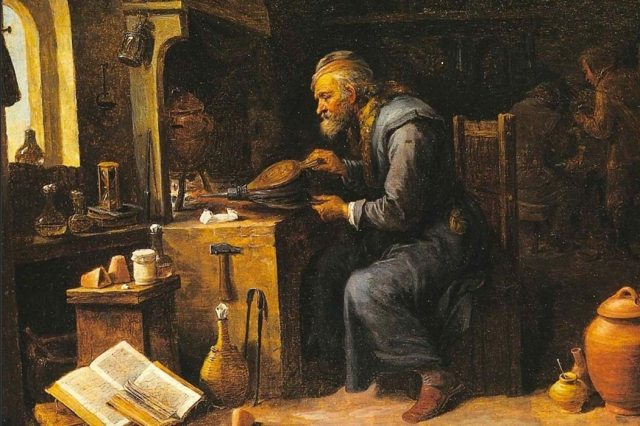 Alchemist Heating a Pot, by David Teniers the Younger (1610 - 1690), oil on canvas.