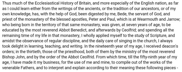 Bede's summary of his life from Ecclesiastical History of the English Nation
