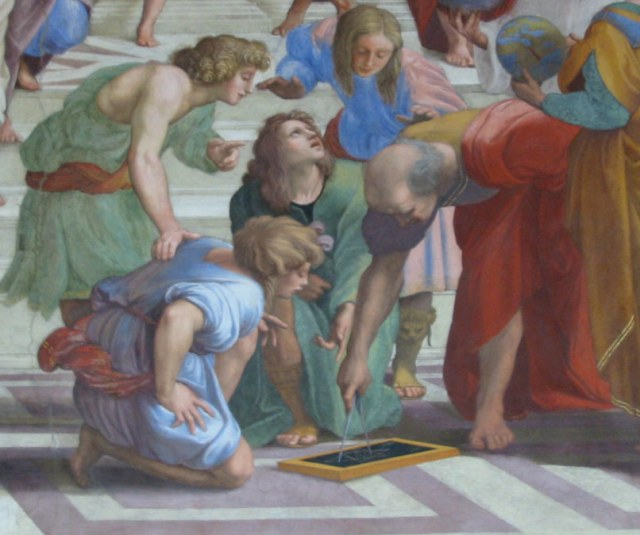 Euclid (holding calipers), Greek mathematician, 3rd century BC, as imagined by Raphael in this detail from The School of Athens.