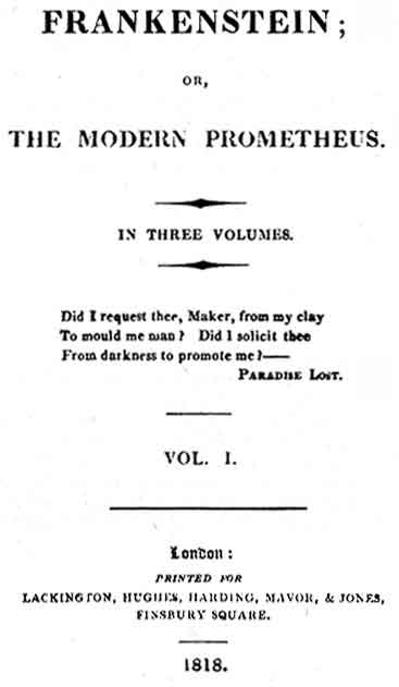 Title page of first edition of Frankenstein, Volume I. Source: Wikimedia Common