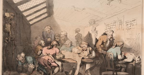 Inside William Hunter's dissecting room in 1770s by Thomas Rowlandson.