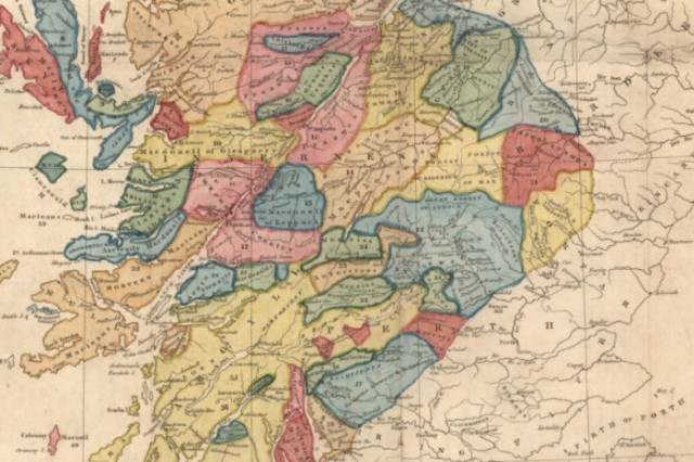 David Stewart's map depicts the territories of the Highland clans in 1746-147. Picture: National Library of Scotland.