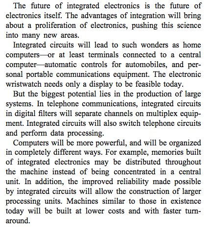 The intro to Gordon Moore's famous 1965 paper: Cramming More Components onto Integrated Circuits