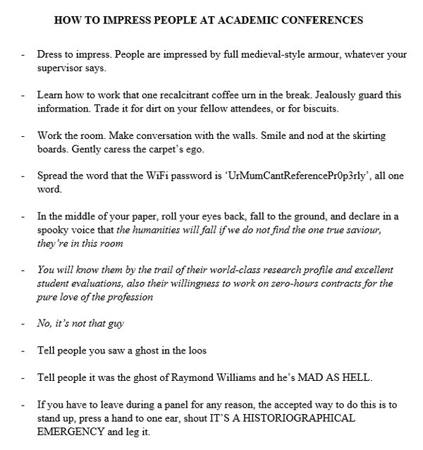 How to Impress People at Academic Conferences Kirsty Rolfe (@avoidingbears)