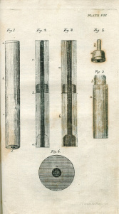Illustration from De l' auscultation mediate (1819) by Laennec showing his design for a wooden stethoscope.