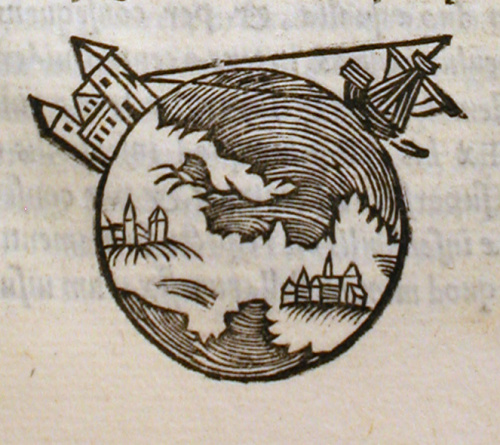 Picture from a 1550 edition of De sphaera, showing the earth to be a sphere. Source: Wikimedia Commons